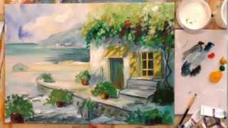 Как рисовать акрилом?  Домик у моря.(Бесплатные уроки живописи: http://sovetmasterov.ru/index.php/freecurs/2-123 Демонстрационное видео. Надеюсь, что просматривая..., 2014-02-27T08:26:02.000Z)
