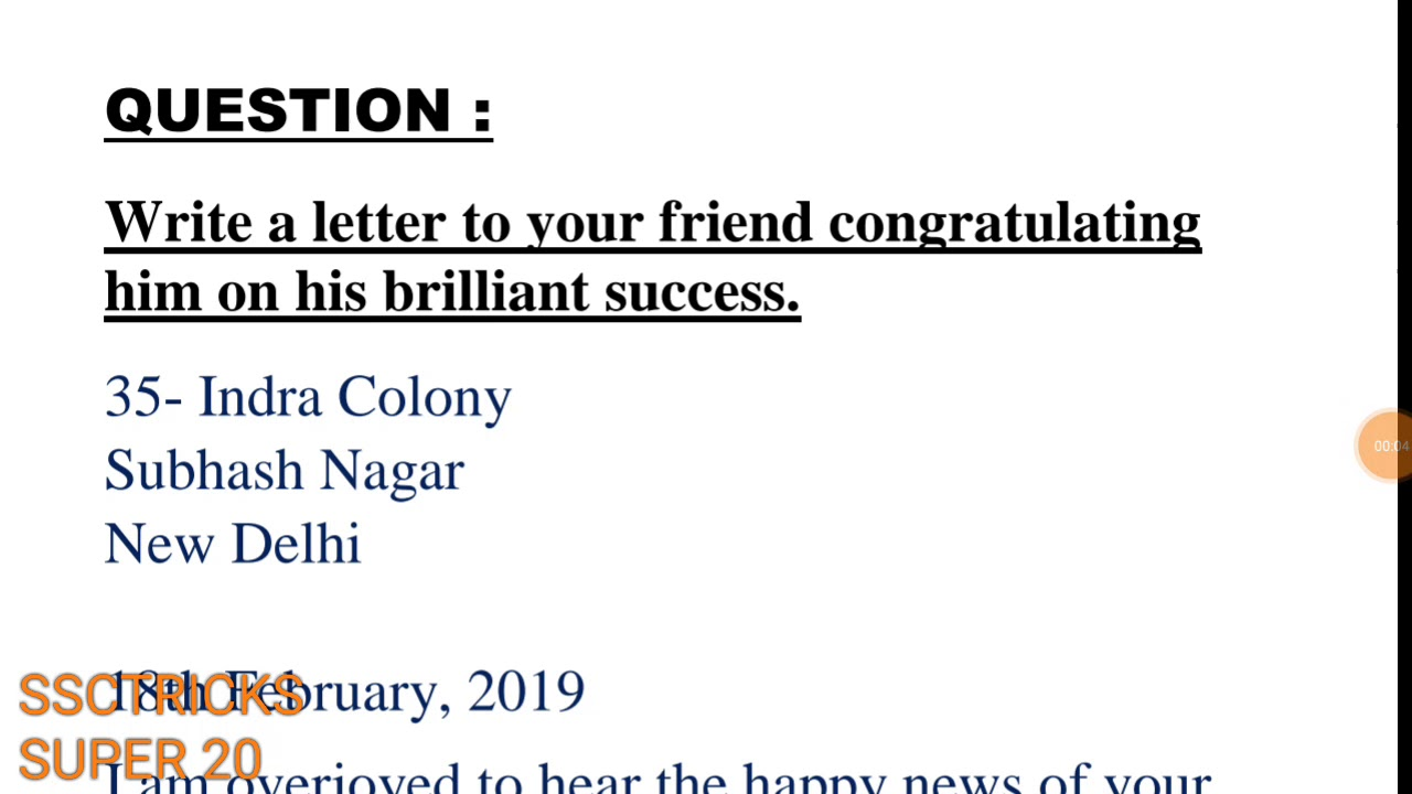 informal letter letter of congratulation to friend on his success in exam
