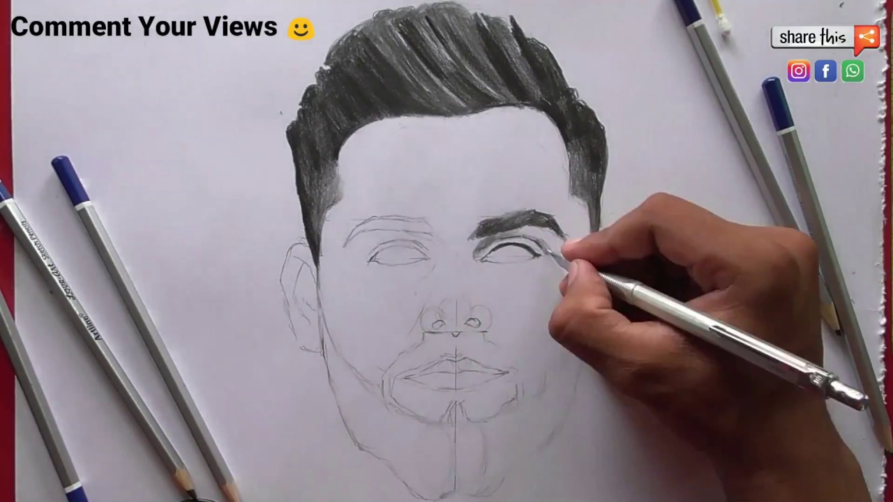 How To Draw Virat Kohli Sketch Easily