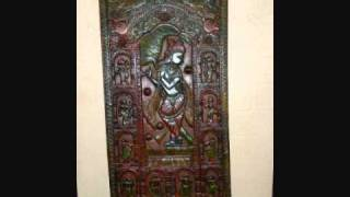 Krishna India Door Panel Antique Hand Carved Art