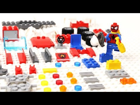 Lego Spider-Man Block Building a Assembly FireTruck Blocks - Superhero toys Movie Cartoons