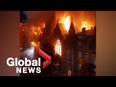 Fire burns historic 19th century church in New York City