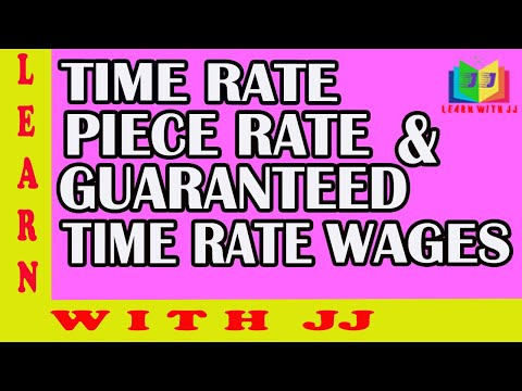 Calculation of Time Rate, Piece Rate & Guaranteed Time Rate Wages