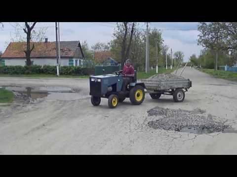 Самодельный мини-трактор , перевозка песка2