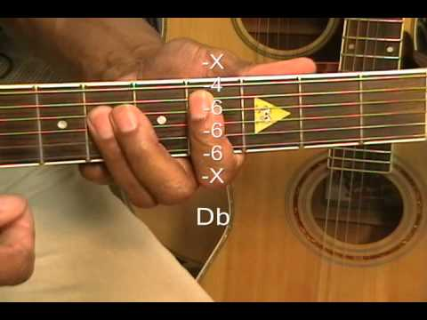 How To Play Guitar Chords Tutorial #57 Flat Major Chords Ab Db Gb ...
