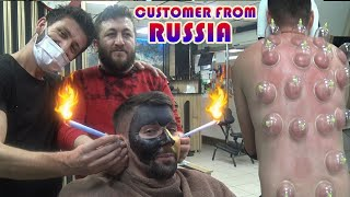 ASMR BARBER CRACKING SKIN CARE cleaning ears head back ear face neck cupping therapy massage