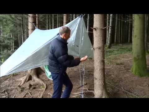 90 Degree Tarp-Tent pitching above hammock