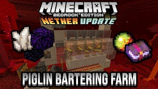 Piglin Bartering Farm Minecraft Bedrock Tutorial 1.16 Nether Update