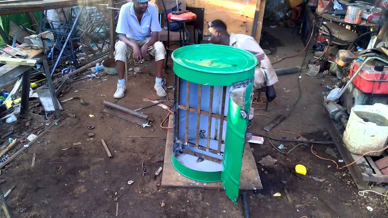 Making Sofa using Steel Drum- Juba Bazaar Workshop - YouTube