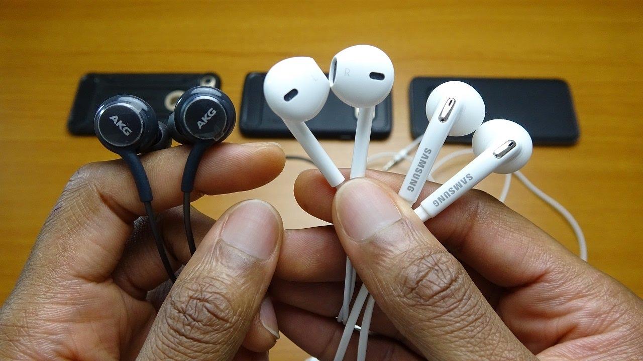 galaxy s8 akg earphones vs apple earpods   youtube