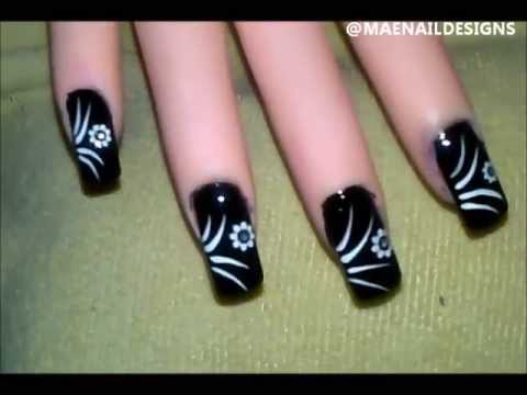 Abstract Lines Flower Decals Nail Design [MAENAILDESIGNS