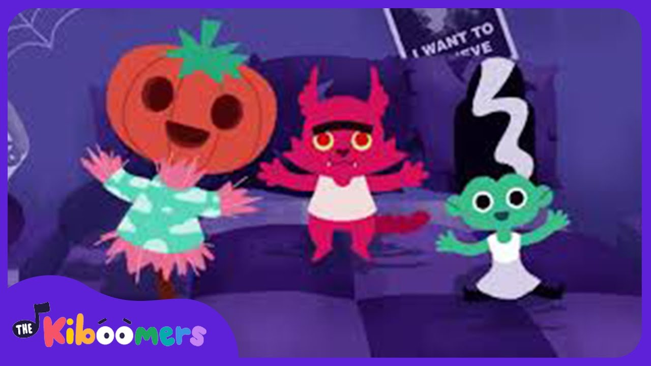 5 Little Monsters Jumping on the Bed | Halloween Songs for Children | The Kiboomers | Songs for kids