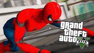 GTA V : HOMEM ARANHA PATRULHANDO E ZUANDO NA CIDADE! (SPIDER MAN HOMECOMING MOD)