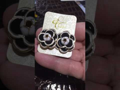 MISASHA Camellia Black Flower Celebrity Designer Earrings
