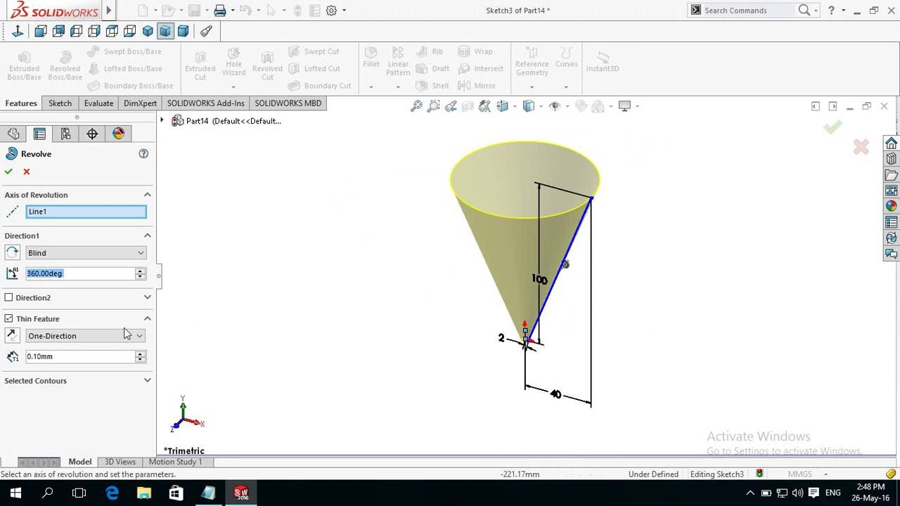 How To Make Create Cone In Solidworks Youtube