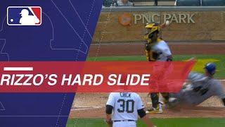 Rizzo's hard slide into home plate vs. Pirates