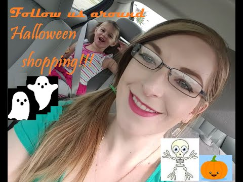 follow us halloween shopping Walmart and Partycity