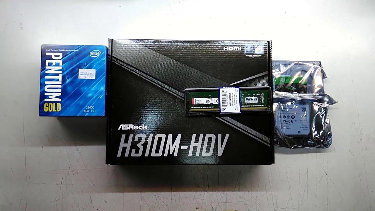 Intel Pentium Gold G5400 Asrock H310M-HDV Cheap desktop Assemble - YouTube
