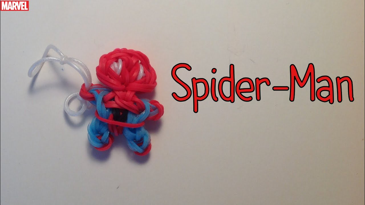 It is an image of Inventive Rainbow Loom Spiderman Face Coloring