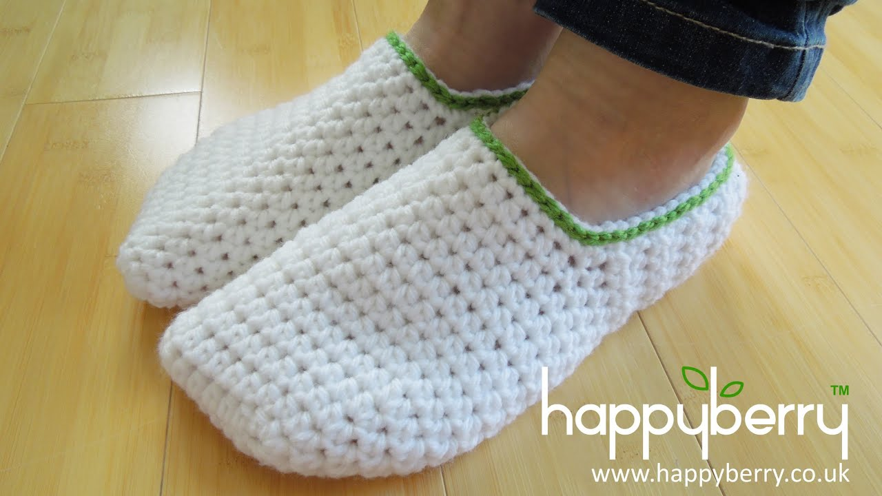 crochet) How To - Crochet Simple Adult Slippers for Men or Women ...