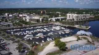 Waterfront at Downtown Sanford Florida from the air