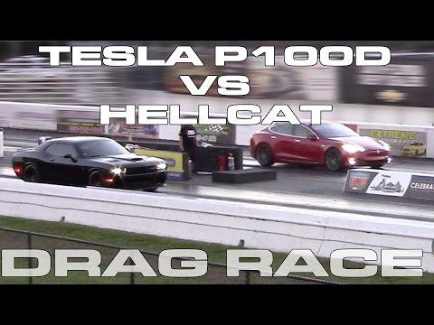 Tesla Model S P100D vs Dodge Challenger Hellcat on Drag Radials Drag Racing 1/4 Mile