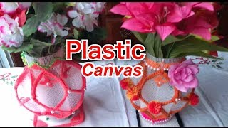 How to make  plastic canvas flower vase // Plastic canvas
