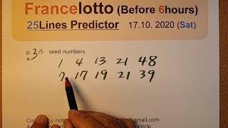 tirage loto 17 octobre 2020 predicteur. francelotto 17.10.2020. Before 6hours. 25 lines predictor.
