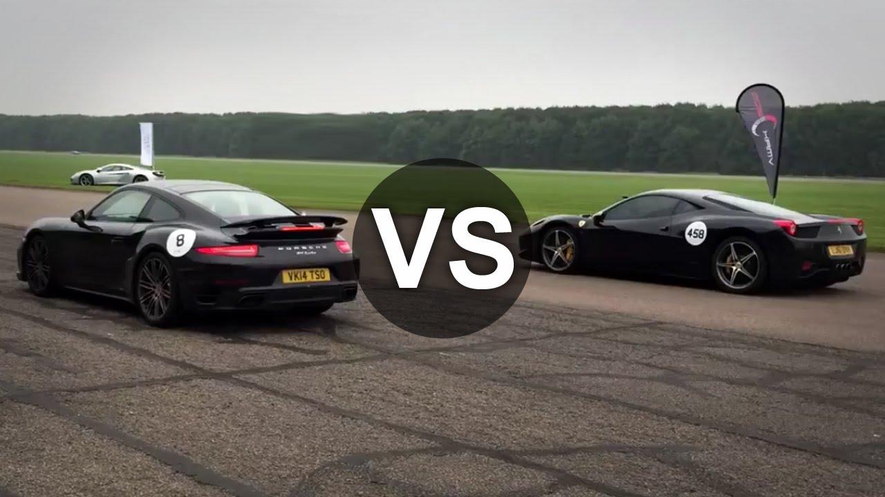 ferrari 458 italia vs porsche 911 turbo turbo s drag race youtube. Black Bedroom Furniture Sets. Home Design Ideas