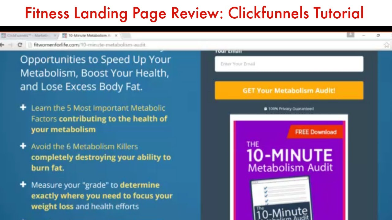 Fitness Landing Page Review and Tutorial Using Clickfunnels