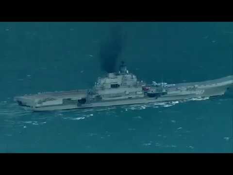 Russian Navy carrier Admiral Kuznetsov passing English Channel
