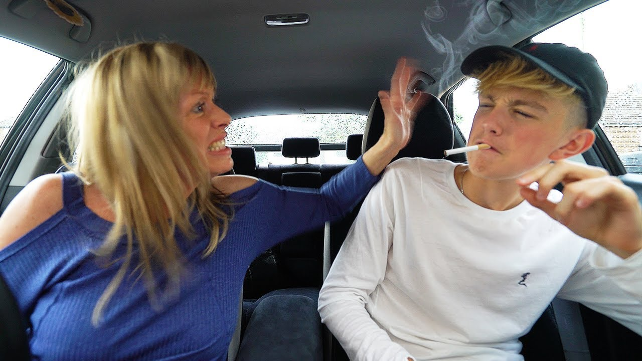 Mom Catches 15 Year Old Kid Smoking Cigarettes Freakout Prank