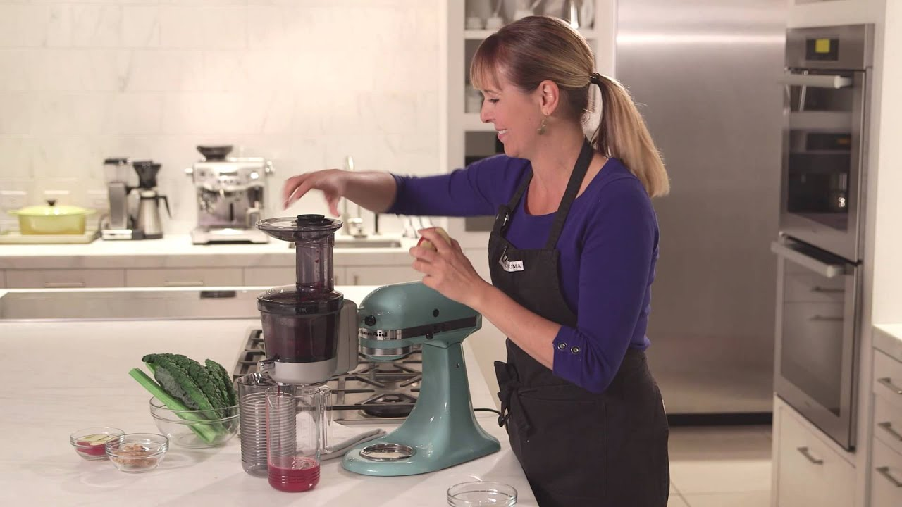 Make Berry Green Juice with the KitchenAid Slow Juicer Attachment Williams-Sonoma - YouTube