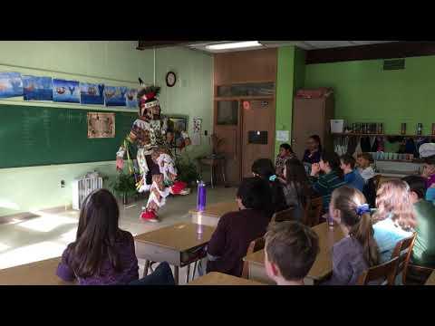 Jayden Mishquawtuk Mars Performs the Grass Dance for Meadowbrook Waldorf School Grade 4 students.