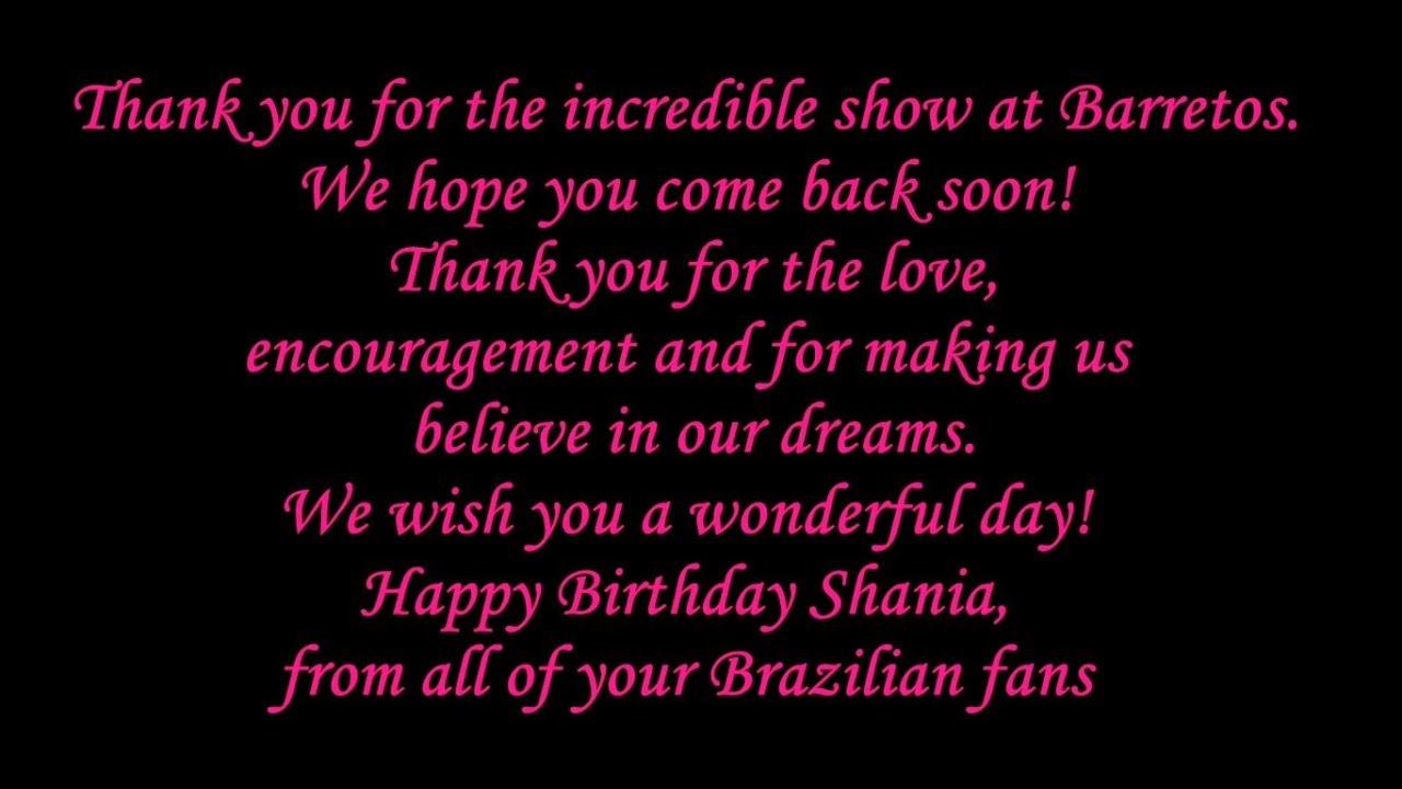 Video Fan 2018 - Aniversário de Shania Twain