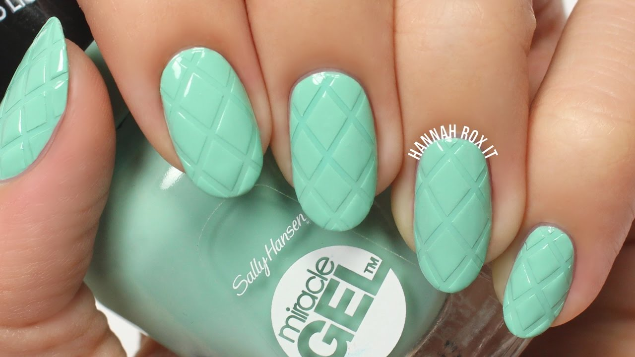 Easy Quilted Mint Nail Art Youtube