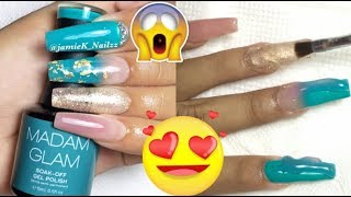DIY TURQUOISE POLYGEL nail design😍/ DIY POLYGEL -MADAM GLAM Gelpolish Encapsulated in POLYGEL 😱