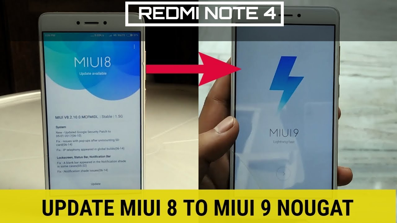 Redmi note 4 update miui 8 to miui 9 Nougat 7 0 officail rom ( No root )
