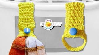 Tea Towel Holder - Moss Stitch Crochet Pattern