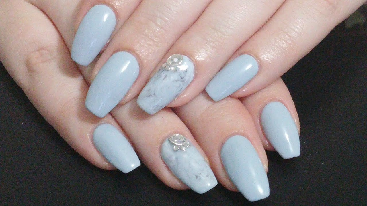 Nail Art |Simple Grey Marble Coffin Nails | Gel Nail Polish - YouTube
