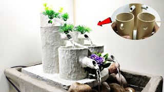 Amazing Water Fountain With Cardboard Roles | White Cement Tabletop Waterfalls