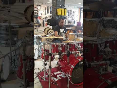 Neil Joseph Drums Sound Check Yamaha Oak Custom Nakas music store Athens Greece