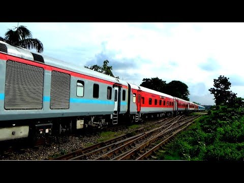 Dhaka to Kolkata Maitree Express International Train with Indian Rake crossing Titas Commuter Train thumbnail