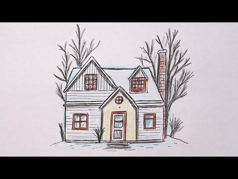 Как нарисовать Дом поэтапно легко | Простые рисунки