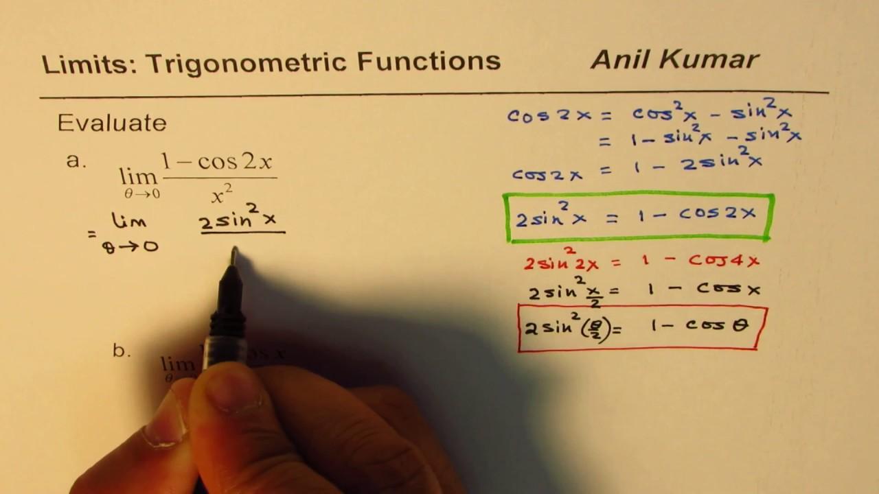 Limit Trigonometric Function (1 - cos2x)/x^2 Half angle Formula application