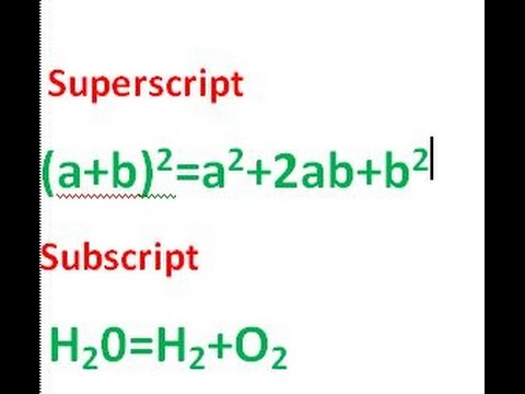 How To Use SubScript And SuperScript In Micosoft Word