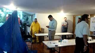 LLuvia interrumpe trabajo de recuento de voto por voto en la junta distrital 06 del IFE