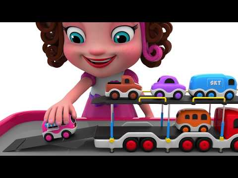 Learn Colors with Truck Carrier Street Vehicles Toys - Toy Cars for Kids