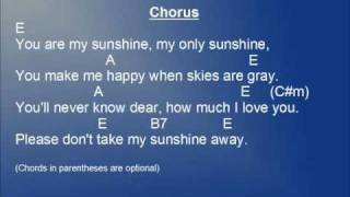 You Are My Sunshine lyrics and chords