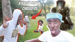 WE GOT CHASED BY A KILLER CLOWN IN THE WOODS!!!😱